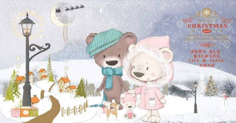 Snow scene, Graphic bears, Christmas 2020, John Divers Photography